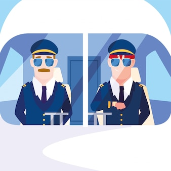 Hombres pilotos de avión en la cabina