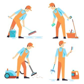 Hombres plana personal del servicio de limpieza aislado en blanco