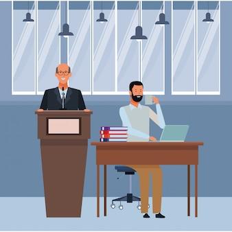 Hombres en un podio y escritorio de oficina
