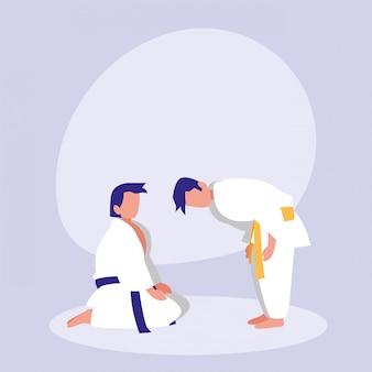 Hombres practicando artes marciales avatar personaje