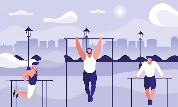 Hombres practicando gimnasio al aire libre