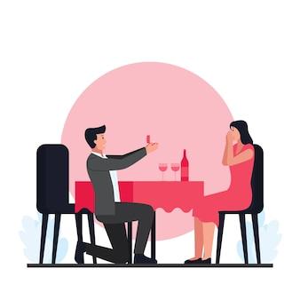 Los hombres proponen matrimonio a las mujeres en la cena del día de san valentín