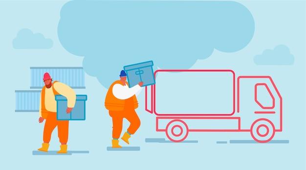 Hombres del puerto de envío cargando contenedores al camión de carga.