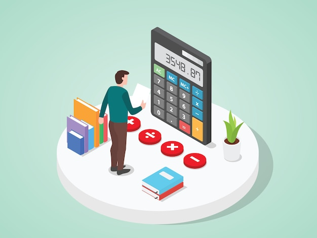 Hombres que analizan las inversiones comerciales utilizando el estilo de dibujos animados plana calculadora.