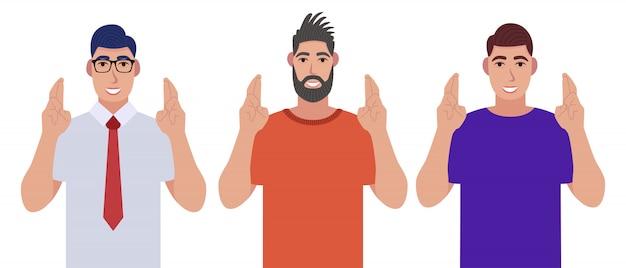 Hombres que muestran signo de gesto de esperanza con los dedos cruzados. personas que hacen creer o desean el símbolo con las manos. conjunto de caracteres.