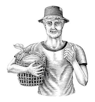 Los hombres que sostienen cestas de fruta de cacao dibujan a mano estilo de grabado vintage