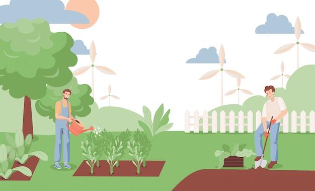 Hombres regando plantas y cavando la ilustración del jardín. los agricultores que trabajan en el jardín en verano.