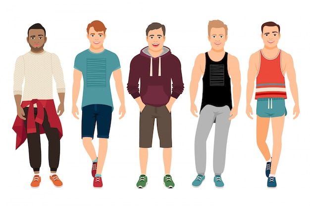 Hombres sanos en la ilustración de vector de ropa deportiva. chicos jóvenes guapos en forma de gimnasio casual aislado