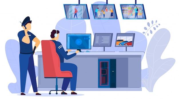 Hombres de seguridad mirando monitores de video de cámaras de vigilancia de supermercado centro ilustración de dibujos animados.