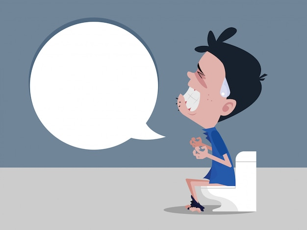 Los hombres sentados en el inodoro y el estreñimiento experimentan dolor abdominal intenso