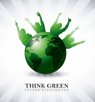 Los hombres de silueta con planeta piensan ilustración vectorial verde
