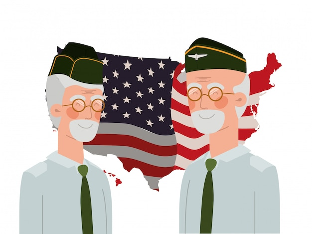 Hombres soldados de guerra con bandera de estados unidos.