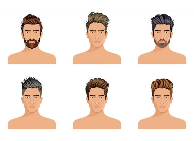 Los hombres solían crear el estilo de peinado de la barba del personaje, la moda de los hombres con bigote, la imagen y la elegante cara de hipstel.