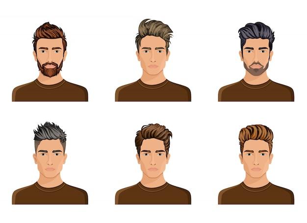 Los hombres solían crear el peinado de la barba del personaje, la moda de los hombres con bigote, la imagen, la elegante cara del hipstel, las opciones de uso.