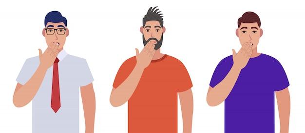 Hombres sorprendidos cubriendo la boca con la mano por error. expresión de miedo, miedo en silencio, concepto secreto. conjunto de caracteres.