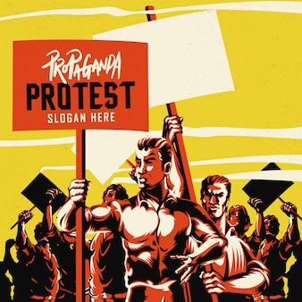 Hombres sosteniendo carteles con gran multitud de personas ilustración
