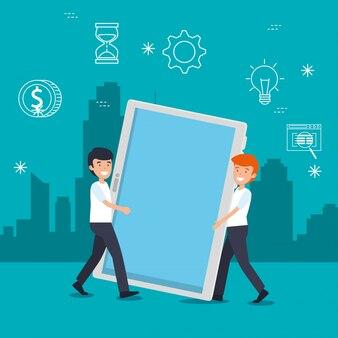 Hombres con tecnología de tableta e información de datos