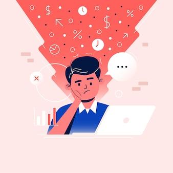 Los hombres trabajan en computadoras portátiles mientras están confundidos por los datos