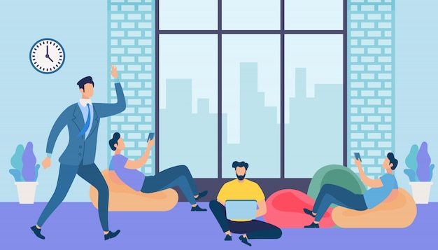 Hombres trabajo y mensajería con gadgets en la oficina