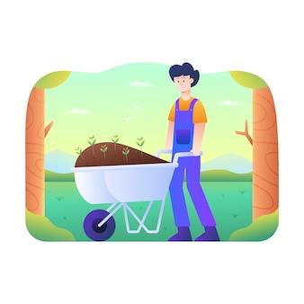 Los hombres traen fertilizantes y plantas con carro de arena.