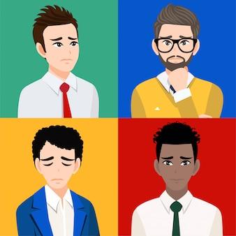 Hombres tristes o personas infelices personaje de dibujos animados aislado