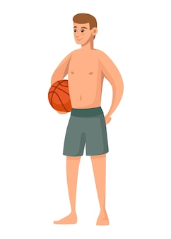 Los hombres usan traje de baño verde y sostienen una pelota de baloncesto pantalones cortos de playa diseño de personajes de dibujos animados
