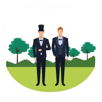 Hombres vestidos de esmoquin