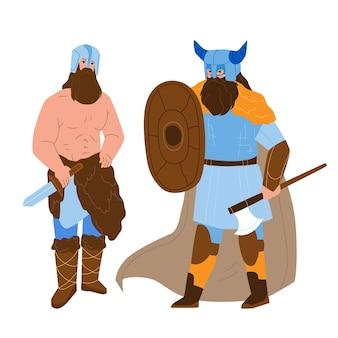 Hombres vikingos blindados con hacha y escudo vector. vikingo musculoso barbudo gente fuerte con arma cuchillo con casco con hornes. personajes chicos guerreros ilustración de dibujos animados plana