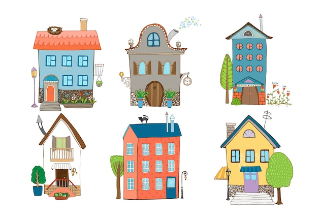 Home sweet home - conjunto de casas dibujadas a mano en diferentes estilos arquitectónicos con plantas y árboles aislados en blanco