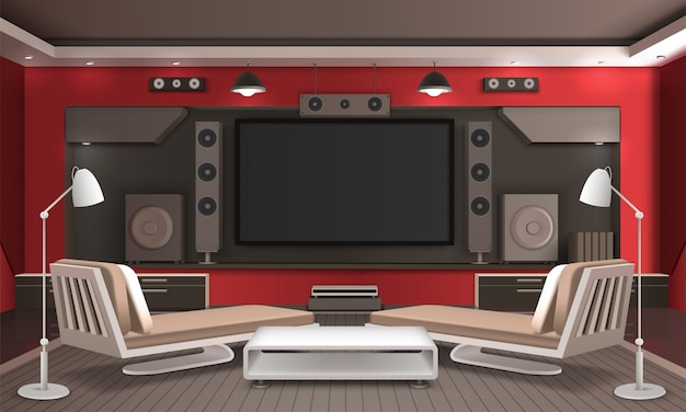 Home theater interior diseño 3d