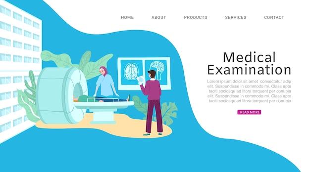 Homeopatía, medicamentos de plantas, tratamiento médico, concepto de salud onlain, ilustración. sitio web de examen médico, sala con equipo, médico examina al paciente.