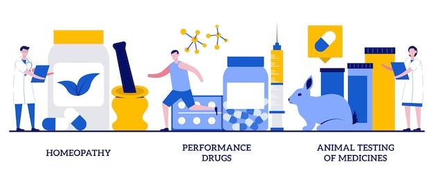 Homeopatía, medicamentos de rendimiento, pruebas en animales del concepto de medicamentos con personas diminutas. conjunto de ilustración de vector abstracto de negocio farmacéutico. tratamiento alternativo, metáfora de drogas deportivas ilegales.