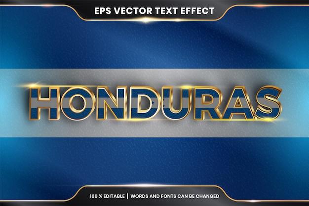 Honduras con su bandera nacional del país, efecto de texto editable con estilo de color dorado