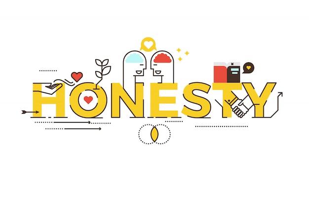 Honestidad letras ilustración tipografía diseño