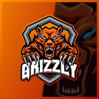 Honey bears roar mascot esport logo design ilustraciones plantilla, estilo de dibujos animados de oso polar