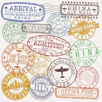 Hong kong china conjunto de diseños de estampillas de viajes y negocios