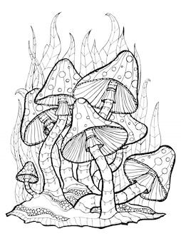 Hongos. amanita. dibujo para colorear dibujo estilo grabado.