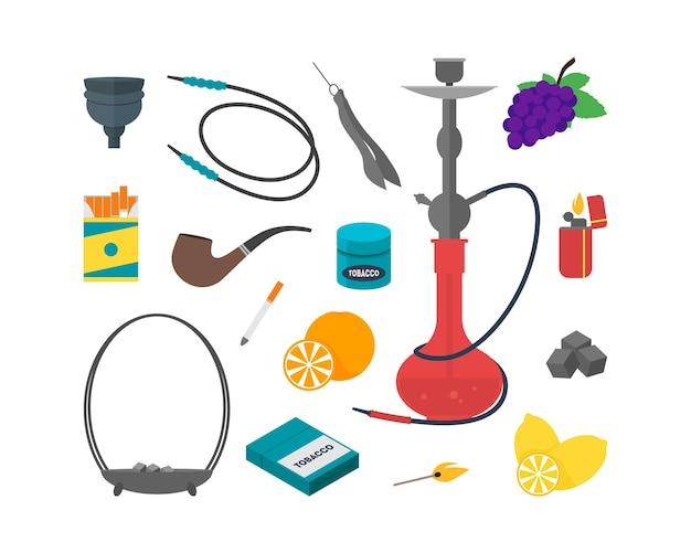 Hookah establece dispositivos tradicionales para fumar.