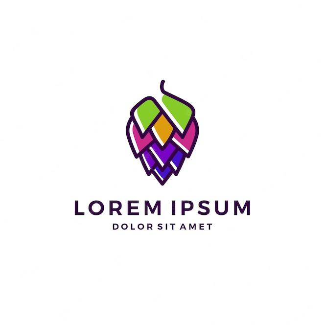 Hop brew brewery logo colorido