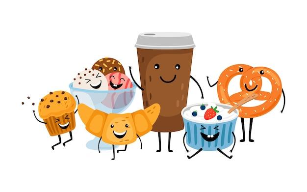 Hora de cafe. postres y bebida linda por la mañana. caracteres vectoriales aislados de café para llevar, muffins y helados