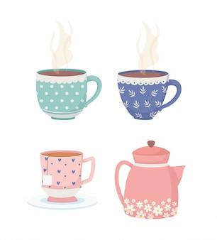 Hora del café y té, tazas decorativas e iconos de tetera