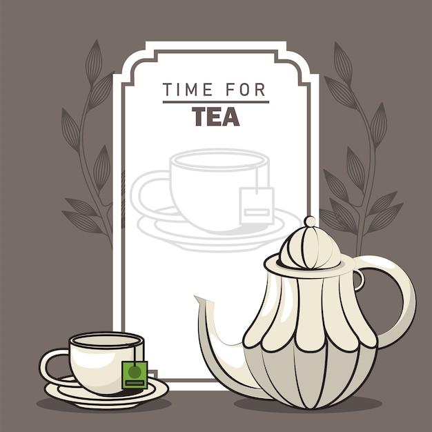 Hora de cartel de letras de té con tetera y taza