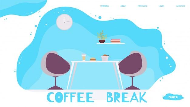 Hora de comer en la oficina y coffee break. página de inicio de dibujos animados