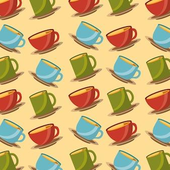 Hora del té color tazas decoración cerámica patrón