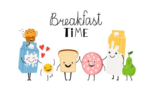 Hora del desayuno, personajes pan, leche y comida