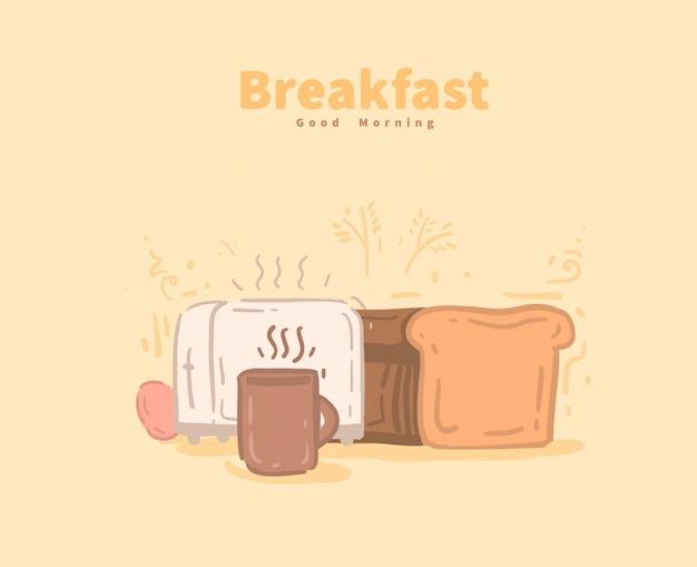 Hora del desayuno. tarjeta de buenos dias ilustración vectorial de desayuno