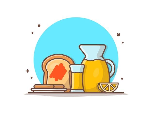 Hora del desayuno, tostadas mermeladas y jugo de naranja