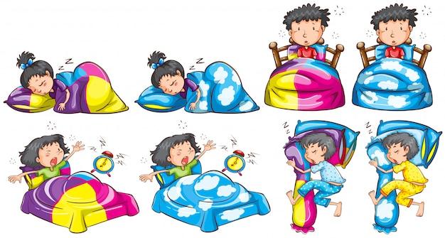 Hora de dormir para niño y niña.