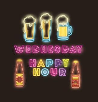 Hora feliz con botellas de cerveza y vasos luces neón.