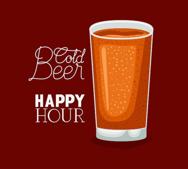 Hora feliz cervezas etiqueta con vidrio
